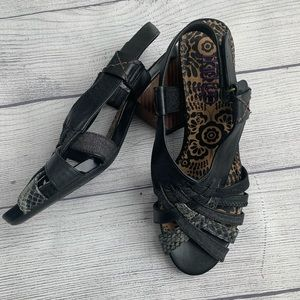 Clarks Indigo Black Leather Multi Strap Sandals